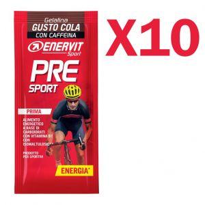 ENERVIT PRE SPORT Confezione di 10 Gelatine in busta da 45 g gusto COLA - Energetico a base di Carboidrati con Caffeina