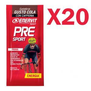 ENERVIT PRE SPORT Confezione di 20 Gelatine in busta da 45 g gusto COLA - Energetico a base di Carboidrati con Caffeina