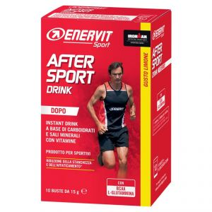 Enervit After Sport Drink (ex R1 Sport) gusto limone, 10 buste da 15 gr - Formula con carboidrati, bcaa e sali minerali