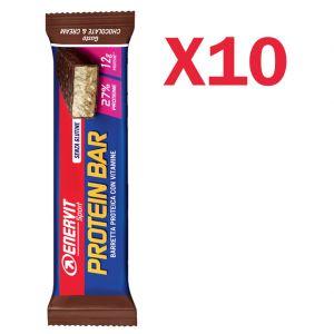 Enervit Sport Protein Bar Chocolate & Cream, box 10 barrette proteiche da 45g con vitamine e minerali senza glutine