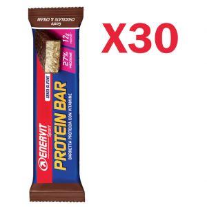 Enervit Sport Protein Bar Chocolate & Cream, box 30 barrette proteiche da 45g con vitamine e minerali senza glutine