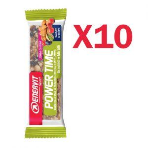 Enervit Sport Power Time Outdoor Bar Arachidi e Mirtillo, conf 10 barrette energetiche da 30 grammi, senza glutine