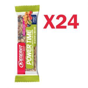 Enervit Sport Power Time Outdoor Bar Arachidi e Mirtillo, box 24 barrette energetiche da 30 grammi, senza glutine