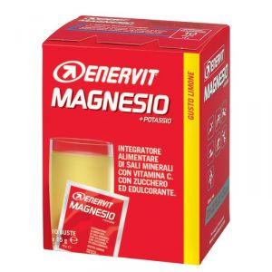 Enervit Magnesio + Potassio Mg+K, scatola 10 buste gusto limone - Sali minerali con vitamina C, zucchero ed edulcorante