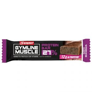 Enervit Gymline Muscle Protein Bar 27% Gluten Free, gusto Gianduia - Barretta proteica da 45g, con mix di vitamine