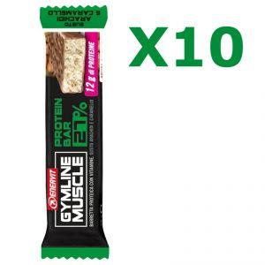 Enervit Gymline Muscle Protein Bar 27% Arachidi e Caramello, conf 10 barrette proteiche da 45g con mix di vitamine