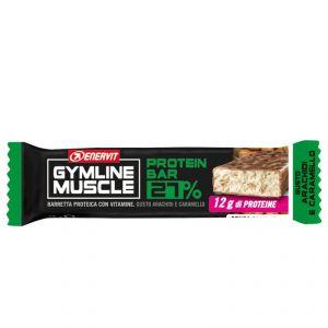 Enervit Gymline Muscle Protein Bar 27% gusto Arachidi e Caramello - Barretta proteica da 45g, con mix di vitamine