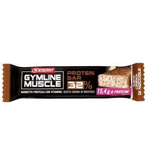 Enervit Gymline Protein Bar 32%, gusto Crema di Nocciole - Barretta Proteica da 48 g con mix di vitamine, gluten free