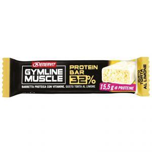Enervit Gymline Protein Bar 32%, gusto Torta al Limone - Barretta Proteica da 48 g con mix di vitamine, gluten free
