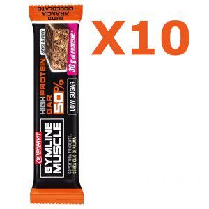 Enervit Gymline High Protein Bar 50% Arancia Cioccolato Senza Glutine - Conf 10 barrette da 60g con proteine e vitamine