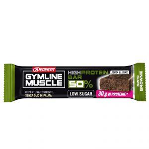 Enervit Gymline High Protein Bar 50% Brownie Senza Glutine - Barretta da 60g con proteine e vitamine