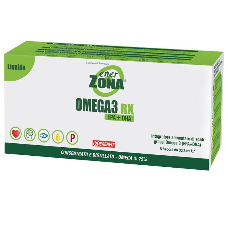 ENERZONA OMEGA 3 RX in Astuccio con 5 flaconi da 33,3 ml gusto LIMONE - Acidi grassi Omega 3 in FORMATO LIQUIDO