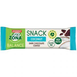SNACK COCONUT BALANCE 40-30-30 ENERZONA - Barretta da 33 grammi con scaglie di cocco e copertura al cioccolato fondente