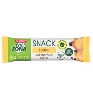 ENERZONA SNACK BALANCE 40-30-30 COOKIE - Barretta proteica 33 g con pezzi di biscotto e copertura al cioccolato al latte