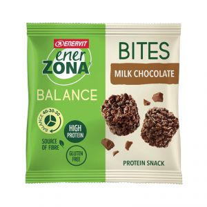 Enerzona Minirock 40-30-30 Bites Minipack 24 g Cioccolato al Latte - Ricco in Proteine, con Fibre - Senza Glutine