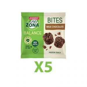 Enerzona Minirock 40-30-30 5 Bites Minipack 5X24 g Cioccolato al Latte - Ricco in Proteine, con Fibre - Senza Glutine