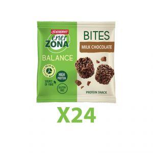 Enerzona Minirock 40-30-30 Box 24 Bites Minipack 24X24 g Cioccolato Latte - Ricco in Proteine, con Fibre - Senza Glutine