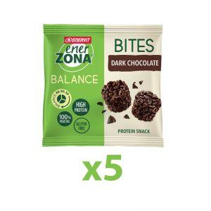 Enerzona Minirock 40-30-30 5 Bites Minipack 5x24 g Cioccolato Fondente - Ricco in Proteine, con Fibre - Senza Glutine