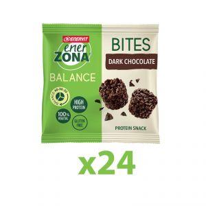 Enerzona Minirock 40-30-30 Box 24 Bites Minipack 24x24 g Cioccolato Fondente - Ricco in Proteine, Fibre - Senza Glutine