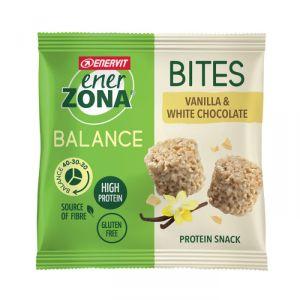Enerzona Minirock 40-30-30 Bites Minipack 24 g Vaniglia e Cioccolato Bianco - Ricco in Proteine, Fibre - Senza Glutine