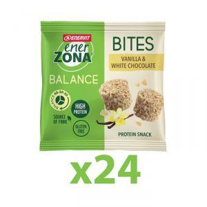 Enerzona Minirock 40-30-30 Box 24 Bites Minipack 24x24 g Vaniglia Cioccolato Bianco - Ricco in Proteine, Fibre