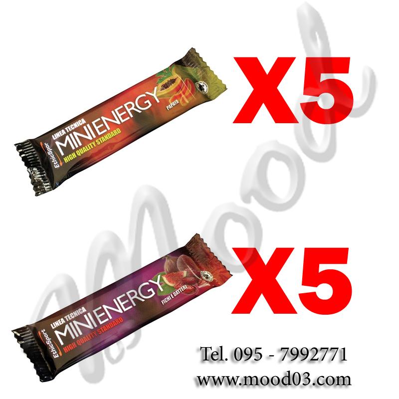 10X MINI ENERGY - MIX PACK con 10 barrette da 20 g (5X gusto PAPAYA, 5X gusto FICHI E DATTERI) Energia Rapida e Duratura