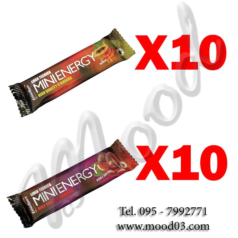 20X MINI ENERGY MIX PACK con 20 barrette da 20g (10X gusto PAPAYA, 10X gusto FICHI E DATTERI) Energia Rapida e Duratura