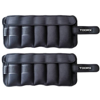 Coppia di polsiere/cavigliere appesantite con pesi estraibili 2 x 2,5 kg, totale 5 kg, colore nero