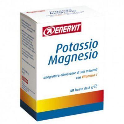 ENERVIT POTASSIO MAGNESIO 10 buste da 8 g - Integratore alimentare di sali minerali con aggiunta di Vitamina C