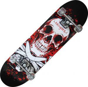 TRIBE PRO BLOODY SKULL - Skateboard accattivante, colore nero con teschio! Misure 79x20 cm - Peso max utente 90 kg