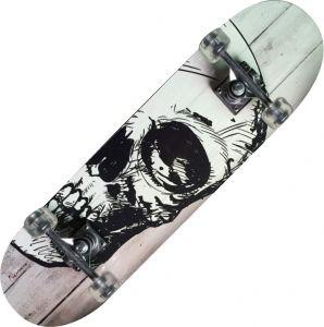TRIBE PRO WHITE SKULL - Skateboard accattivante con teschio! Misure 79x20 cm - Peso max utente 90 kg