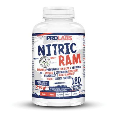 NITRIC RAM Barattolo 180 cpr - Formula Pre-workout con BCAA e Arginina - Più Energia, Riduce Stanchezza ed Affaticament