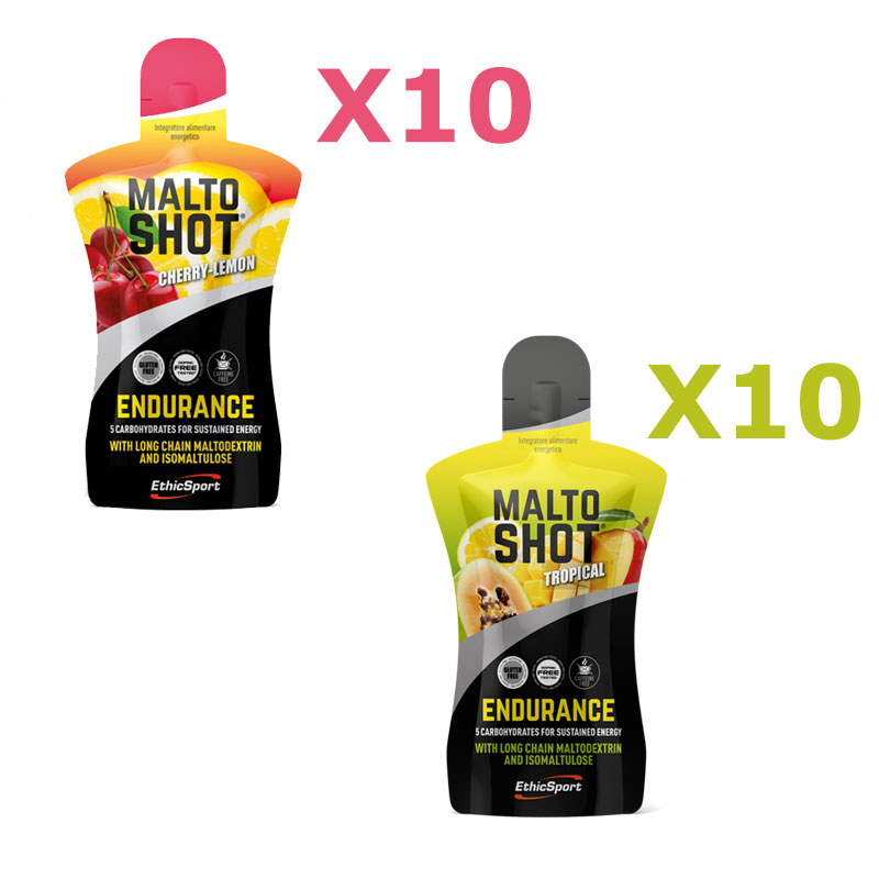 20X MALTO SHOT ENDURANCE 50 ML MIX PACK: 10 pack gusto CILIEGIA/LIMONE + 10 pack gusto TROPICAL