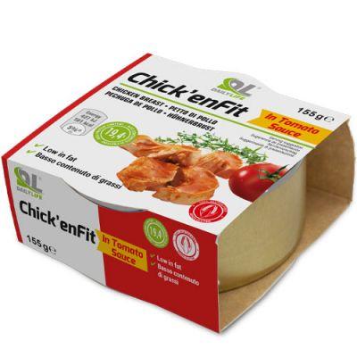 CHICK' EN FIT IN SALSA DI POMODORO - Confezione da 155 g di filetti di pollo ad alto contenuto proteico (26%)