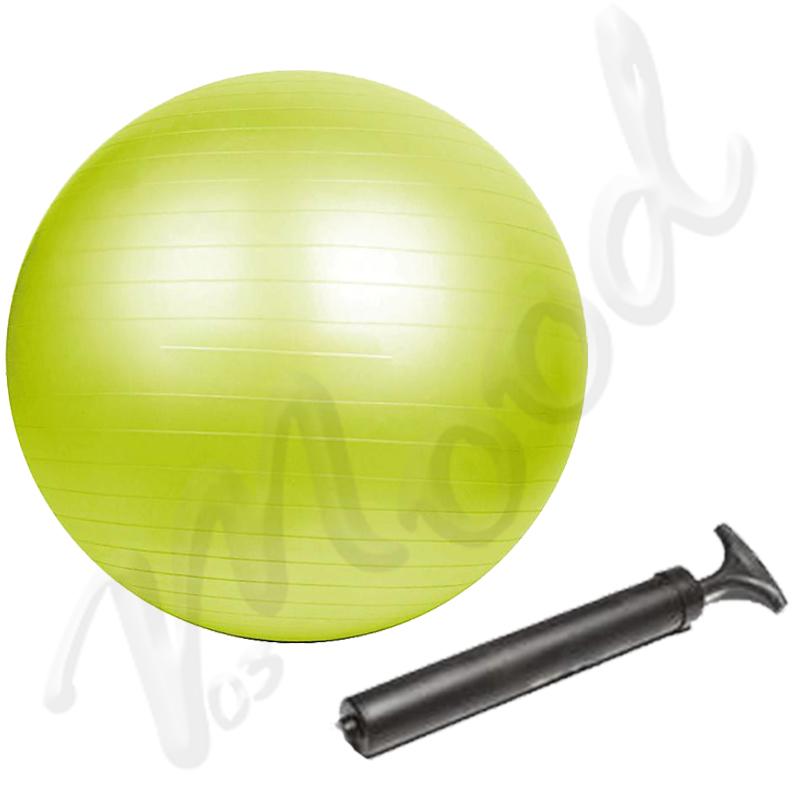 Palla da Ginnastica Gym Ball 65 cm Antiscoppio Verde Lime per Yoga e Pilates, pompa di gonfiaggio inclusa