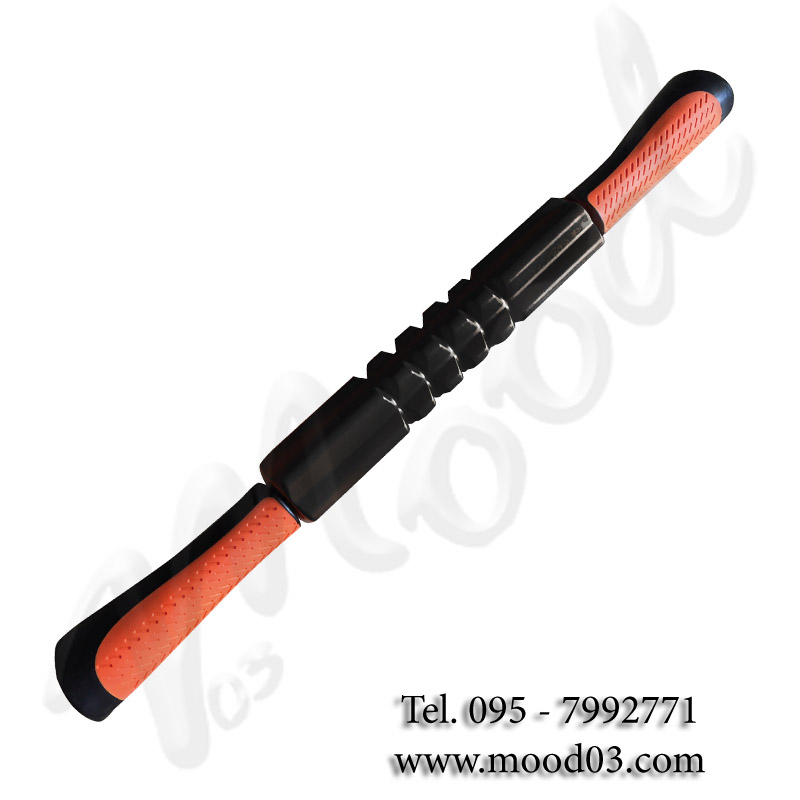 Rullo massaggio con impugnature, colore nero-arancio - Dimensioni 53 cm x Ø 4,5 cm