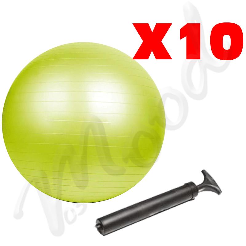 KIT RISPARMIO CON 10 PALLE GYMBALL ANTISCOPPIO 65CM VERDI PER ESERCIZI YOGA, PILATES, STRETCHING, GINNASTICA + 10 POMPE
