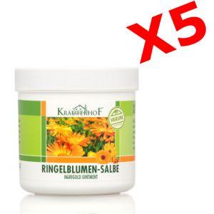 5X RINGELBLUMEN-SALBE MARIGOLD OINTMENT 5 Barattoli da 250 ml di Crema alla Calendula con Vaselina Pura