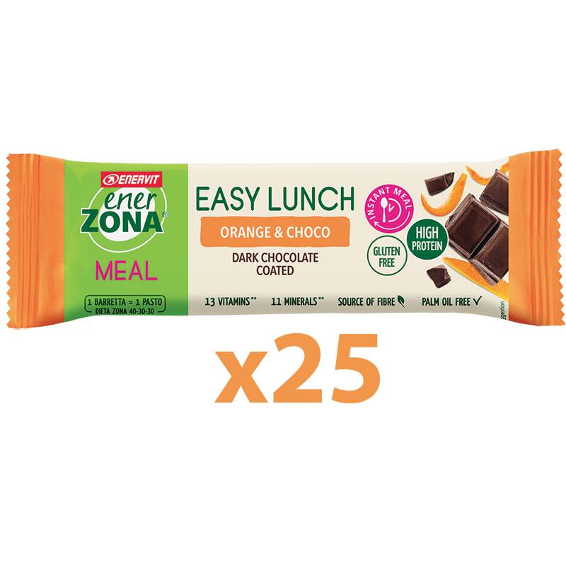 Enerzona Nutrition Bar 40-30-30 Easy Lunch Box 25 Barrette Proteiche 25x58g Arancia e Cioccolato - Senza glutine