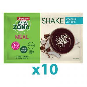 Enerzona Instant Meal 40-30-30 Shake Box 10 Buste 10x53g Cocco e Cioccolato - Con Proteine e Magnesio - Senza coloranti