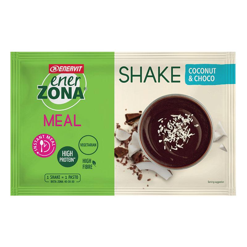 Enerzona Instant Meal 40-30-30 Shake Coconut Busta 53 g Cocco e Cioccolato - Con Proteine e Magnesio - Senza coloranti
