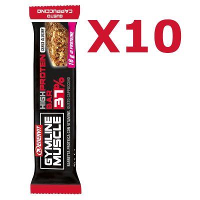 Enervit Gymline High Protein Bar 37% Cappuccino Senza Copertura - Conf 10 barrette proteiche da 42 g con vitamine