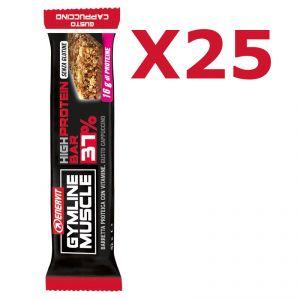 Enervit Gymline High Protein Bar 37% Cappuccino Senza Copertura - Conf 25 barrette proteiche da 42 g con vitamine