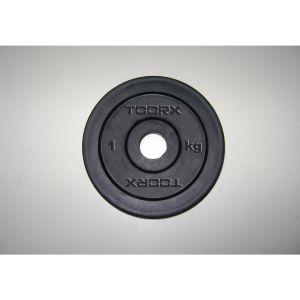 Disco in ghisa gommata da 0,5 kg. Foro 25 mm adatto a bilancieri e manubri con misure diametro standard