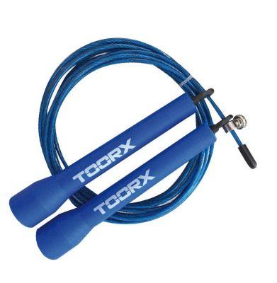 Corda da salto veloce in acciaio con manopole in plastica azzurre, lunghezza regolabile