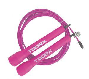 Corda da salto veloce in acciaio con manopole in plastica fucsia, lunghezza regolabile