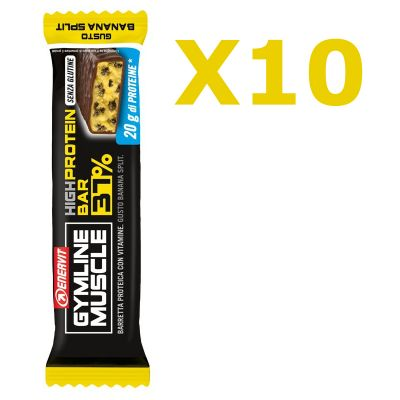 Enervit Gymline High Protein Bar 37% Banana Split Senza Glutine - Conf 10 Barrette da 54 g arricchite con mix vitaminico