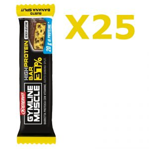 Enervit Gymline High Protein Bar 37% Banana Split Senza Glutine - Conf 30 Barrette da 54 g arricchite con mix vitaminico