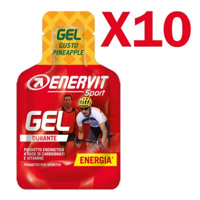 Enervit Sport Gel, conf 10 mini-pack da 25 ml, gusto pineapple - Energetico liquido con carboidrati e vitamine