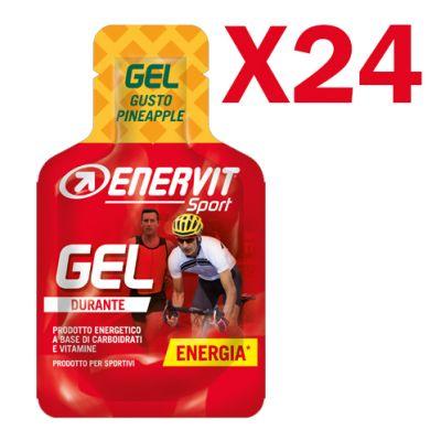 Enervit Sport Gel, conf 24 mini-pack da 25 ml, gusto pineapple - Energetico liquido con carboidrati e vitamine